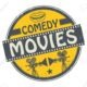 30800667 stamp or label with movie projector filmstrip and the text comedy movies written inside
