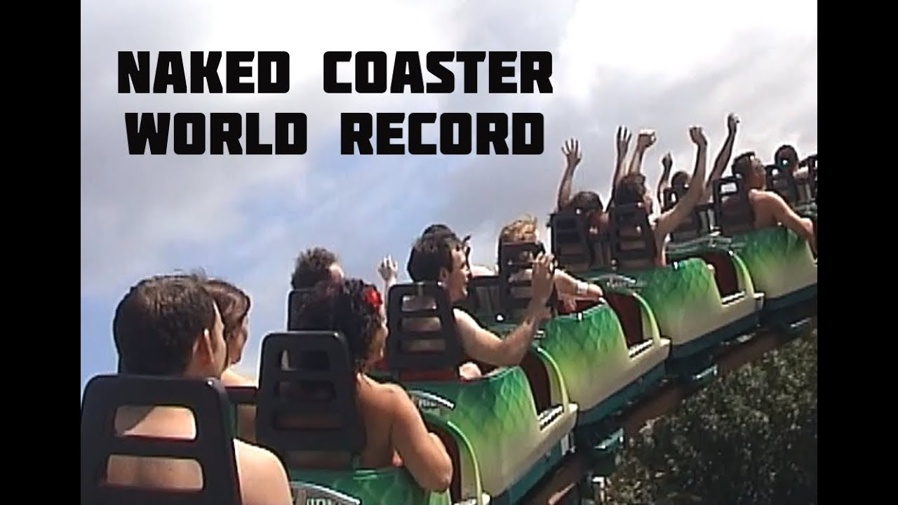 Naked riders on a theme park ride.