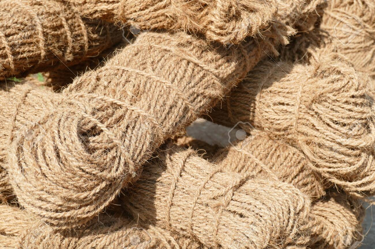 Coir Rope Made From Coconut Fiber, Near Chitambaram, India Stock Photo, Picture And Royalty Free Image. Image 136750352.