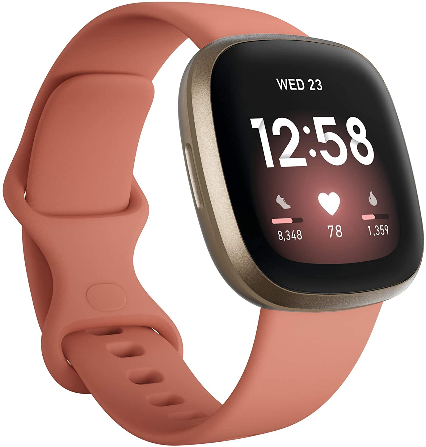 Amazon.com: Fitbit Versa 3 Health & Fitness Smartwatch with GPS, 24/7 Heart Rate, Alexa Built-in, 6+ Days Battery, Pink/Gold, One Size (S & L Bands Included): Health & Personal Care