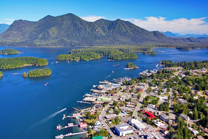 Aerial view of Tofino on Vancouver Island