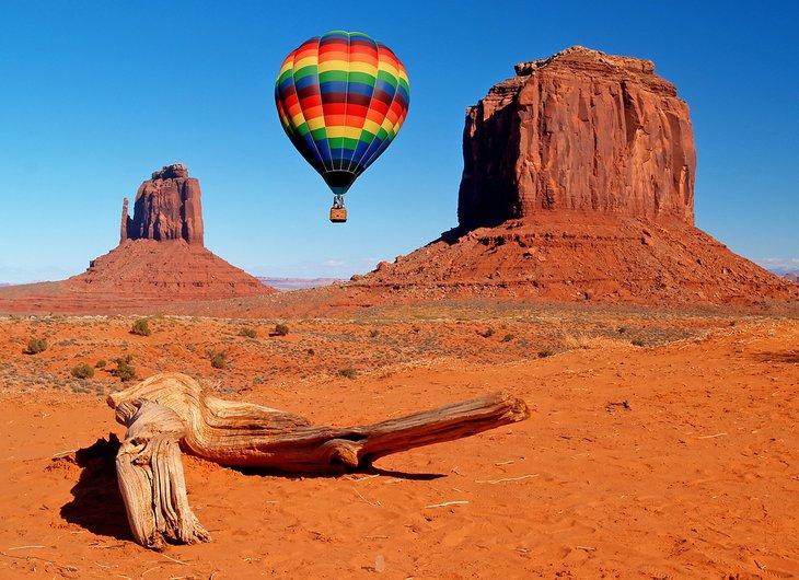Balloon above Monument Valley