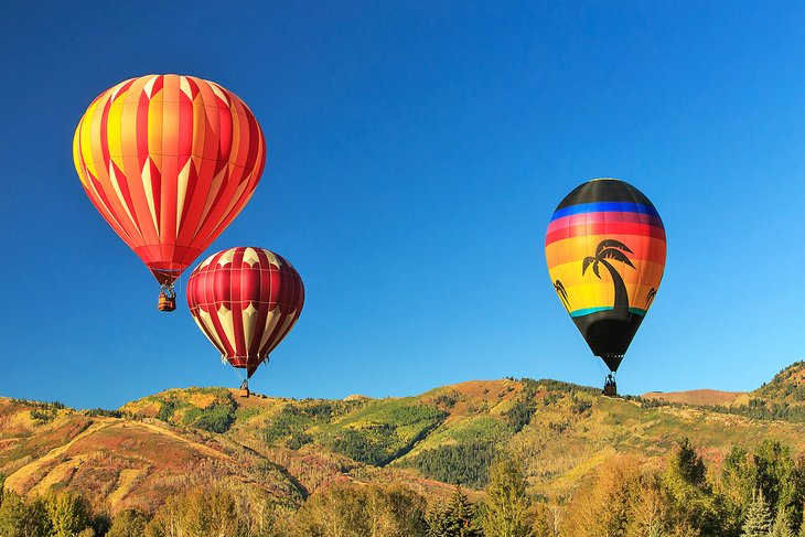 Colorful balloons above Park City, Utah
