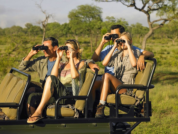 Couples on a game drive in Sabi Sands Game Reserve