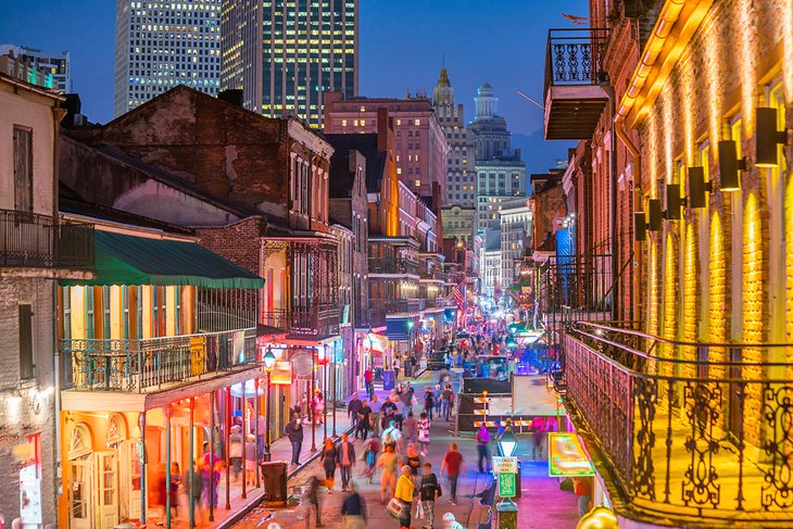 Downtown New Orleans at night