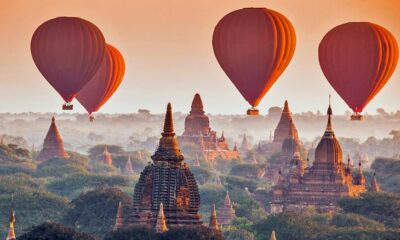 Hot air balloons over the temples in Bagan, Myanmar