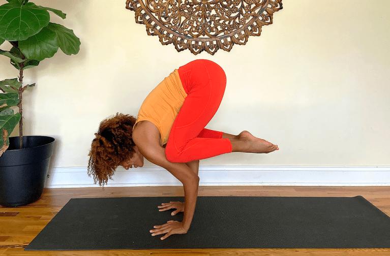 Practice a yoga arm balance