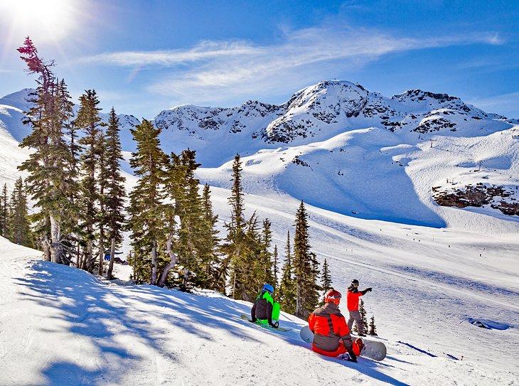 Snowboarders on Whistler Mountain