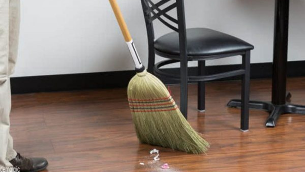 Sweeping floors in the evening