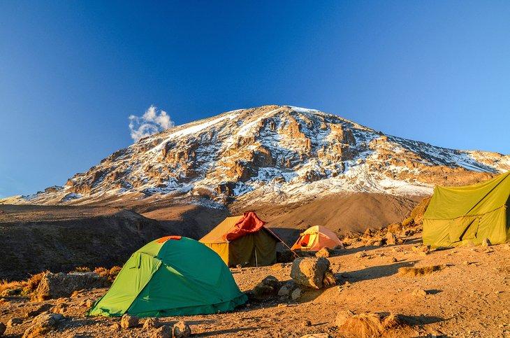 Tents on the hike to Mt. Kilimanjaro