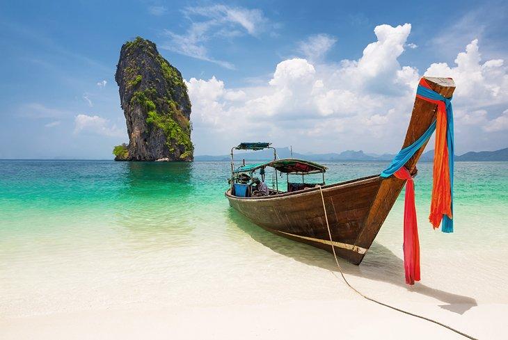 Thai long-tail boat on the beach