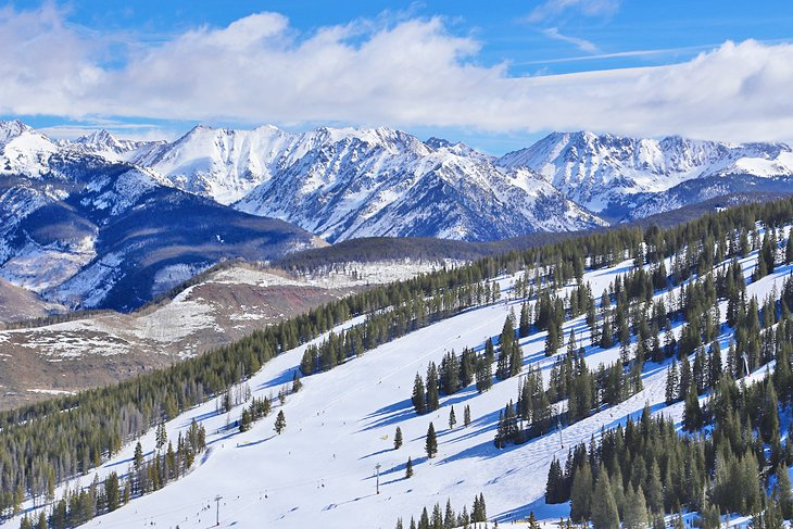 Vail ski runs with the Gore Range in the distance