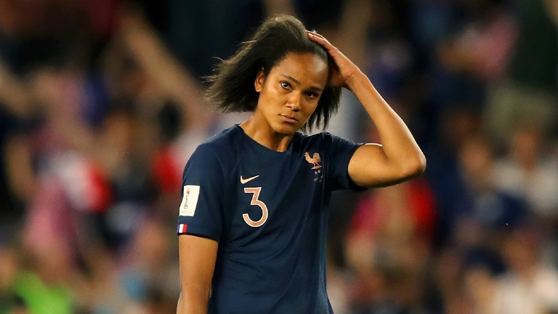 PARIS, FRANCE - JUNE 28: Wendie Renard of France looks dejected following the 2019 FIFA Women's World Cup France Quarter Final match between France and USA at Parc des Princes on June 28, 2019 in Paris, France. (Photo by Richard Heathcote/Getty Images)