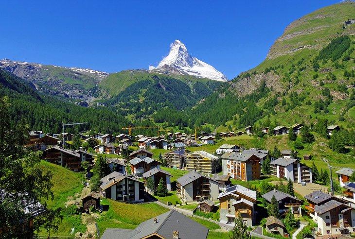 Zermatt village in the summer