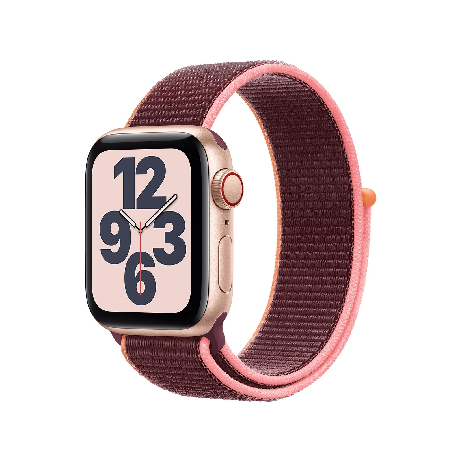 Apple Watch SE 40mm Gold Aluminium Case with Plum Sport Loop - GPS & Cellular