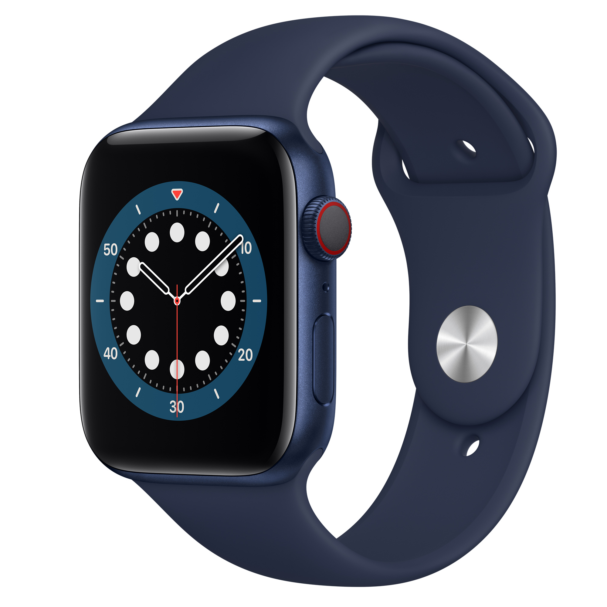 Apple Watch Series 6 GPS + Cellular, 44mm Blue Aluminium Case with Deep Navy Sport Band - Regular - Apple (IN)