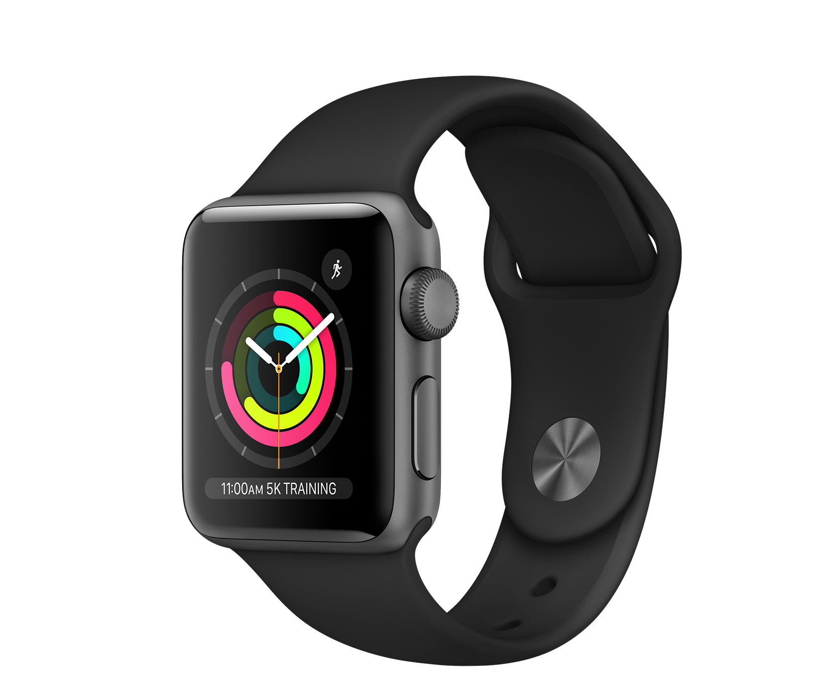 Apple Watch Series 3 GPS, 38mm Space Grey Aluminium Case with Black Sport Band - Apple (IN)