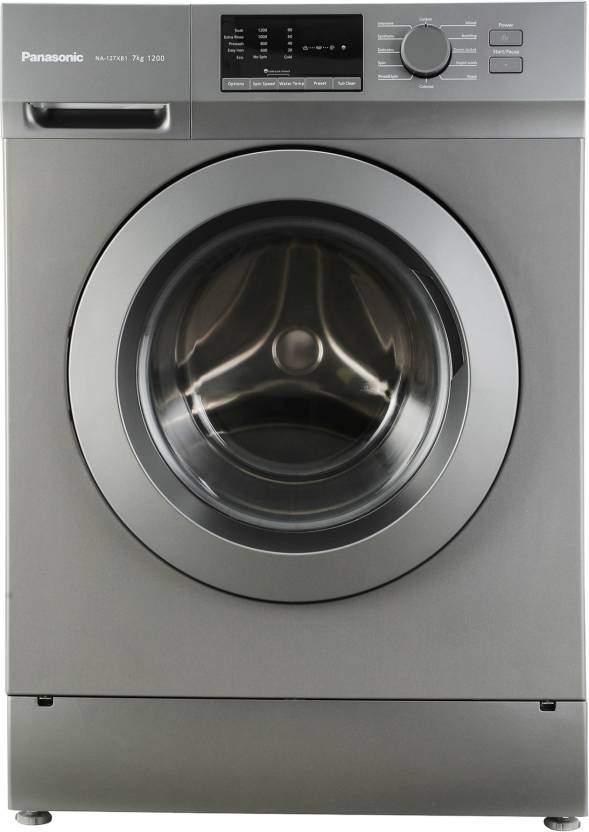 panasonic 7 kg fully automatic front load washing machine grey na 127xb1l01 106063343