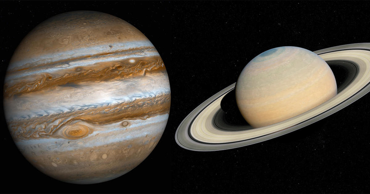 """Jupiter and Saturn will come within 0.1 degrees of each other, forming the first visible """"double planet"""" in 800 years - CBS News"""